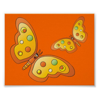 Cute Cartoon Orange Butterflies Poster