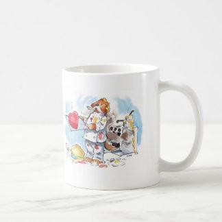 cute cartoon otter chef with heart cake coffee mug