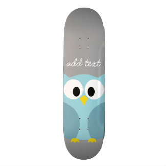 Cute Cartoon Owl - Blue and Gray Custom Name 19.7 Cm Skateboard Deck