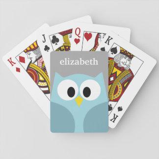 Cute Cartoon Owl - Blue and Gray Custom Name Playing Cards