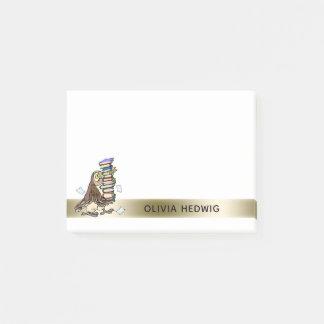 Cute Cartoon Owl Books Teacher Custom Name Post-it Notes