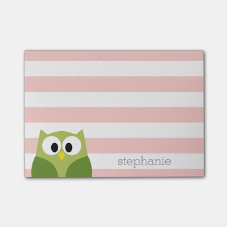 Cute Cartoon Owl - Coral and Green with Stripes Post-it Notes