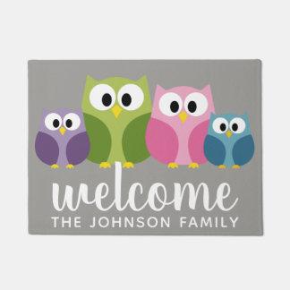 Cute Cartoon Owl Family and Custom Name Doormat