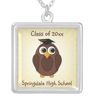 Cute Cartoon Owl Graduate with Mortar Board Hat Silver Plated Necklace