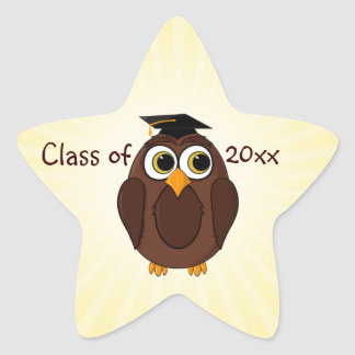 Cute Cartoon Owl Graduate with Mortar Board Hat Star Sticker