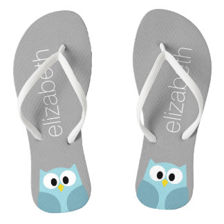 Cute Cartoon Owl in Blue and Gray Thongs