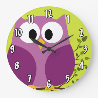 Cute Cartoon Owl in bright colors Large Clock