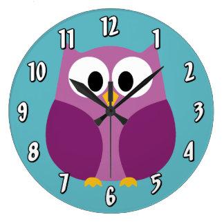 Cute Cartoon Owl in bright colors Wall Clock