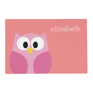 Cute Cartoon Owl in Pink and Coral Laminated Placemat