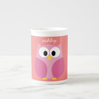 Cute Cartoon Owl in Pink and Coral Tea Cup