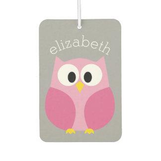 Cute Cartoon Owl - Pink and Gray Custom Name Car Air Freshener