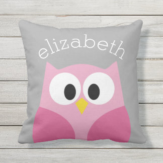 Cute Cartoon Owl - Pink and Gray Custom Name Cushion