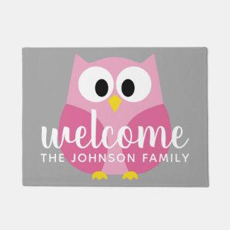 Cute Cartoon Owl - Pink and Gray Custom Name Doormat