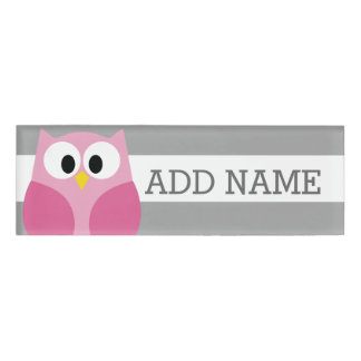 Cute Cartoon Owl - Pink and Gray Custom Name Name Tag