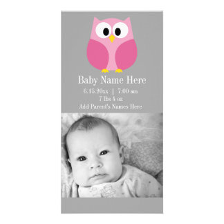 Cute Cartoon Owl - Pink and Gray Custom Name Photo Card Template