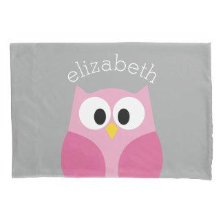 Cute Cartoon Owl - Pink and Gray Custom Name Pillowcase