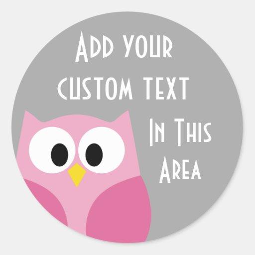 Cute Cartoon Owl - Pink and Gray Custom Name Sticker