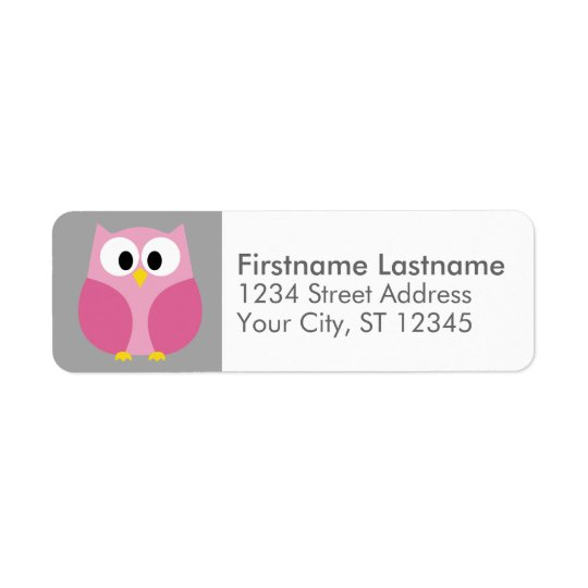 Cute Cartoon Owl - Pink and Grey Custom Name Return Address Label
