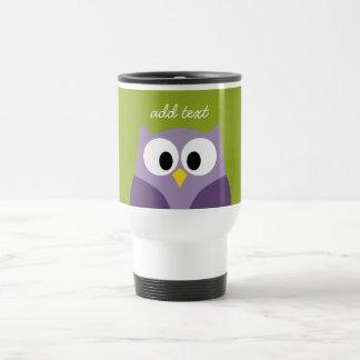 Cute Cartoon Owl Purple and Pistachio Custom Name Stainless Steel Travel Mug