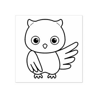 Cute Cartoon Owl Rubber Stamp