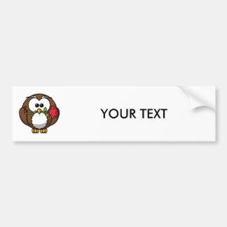Cute Cartoon Owl With Rose Bumper Stickers