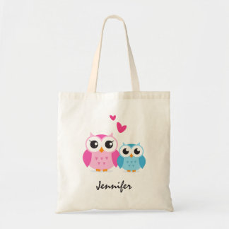 Cute cartoon owls with hearts personalized name