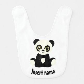 Cute cartoon panda baby bib with name.