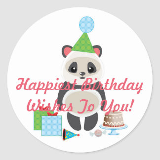Cute Cartoon Panda Bear with Birthday Wishes Classic Round Sticker