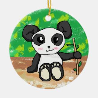cute cartoon panda round ceramic decoration