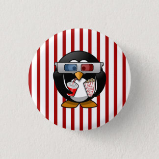 Cute Cartoon Penguin at the Movies With Stripes 3 Cm Round Badge