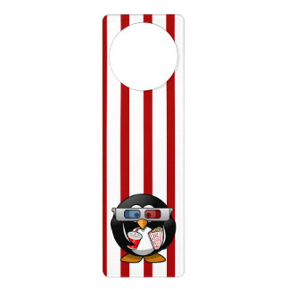 Cute Cartoon Penguin at the Movies With Stripes Door Hanger