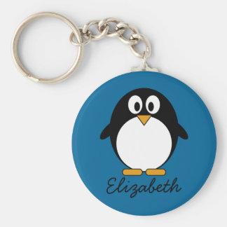 cute cartoon penguin blue background key ring