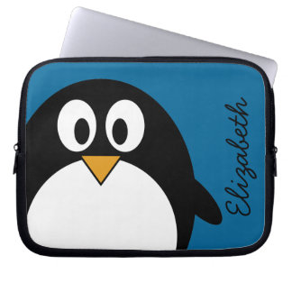 cute cartoon penguin blue background laptop sleeves