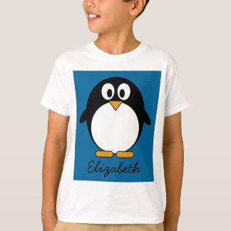 cute cartoon penguin blue background tee shirt