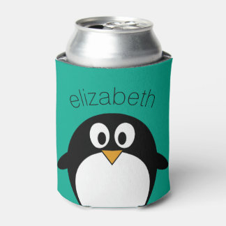 cute cartoon penguin emerald and black can cooler
