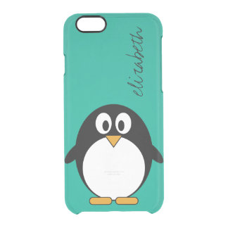 cute cartoon penguin emerald and black clear iPhone 6/6S case