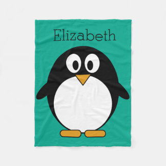 cute cartoon penguin emerald and black fleece blanket