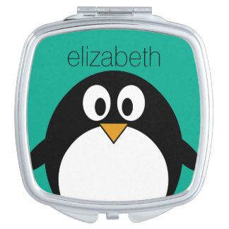 cute cartoon penguin emerald and black mirror for makeup