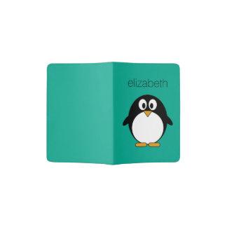 cute cartoon penguin emerald and black passport holder
