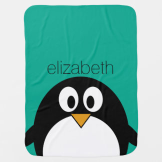 cute cartoon penguin emerald and black receiving blankets