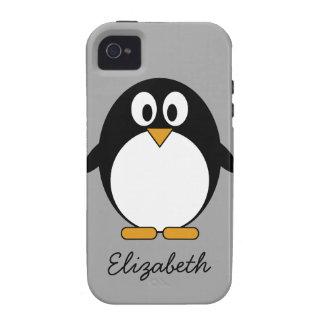 cute cartoon penguin gray Case-Mate iPhone 4 cases
