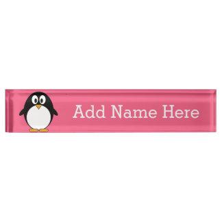 Cute Cartoon penguin Illustration Hot Pink Black Desk Nameplate