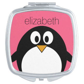 Cute Cartoon penguin Illustration Hot Pink Black Mirrors For Makeup