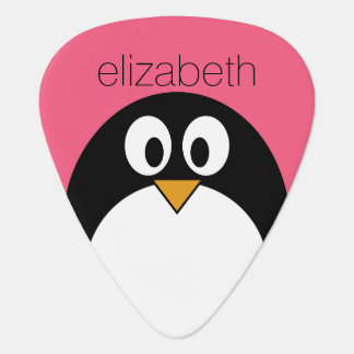 Cute Cartoon penguin Illustration Hot Pink Black Plectrum