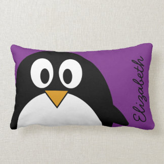 cute cartoon penguin purple lumbar pillow
