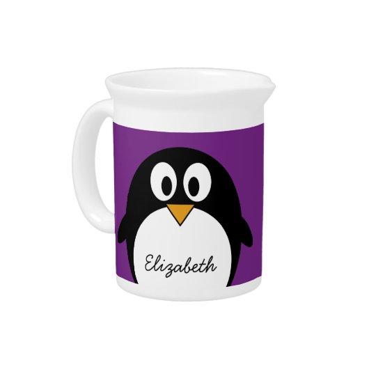 cute cartoon penguin purple pitcher