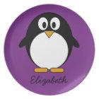 cute cartoon penguin purple plate