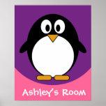 cute cartoon penguin purple poster
