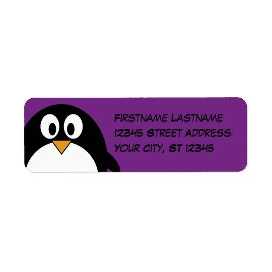 cute cartoon penguin purple return address label