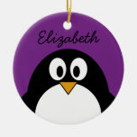 cute cartoon penguin purple round ceramic decoration